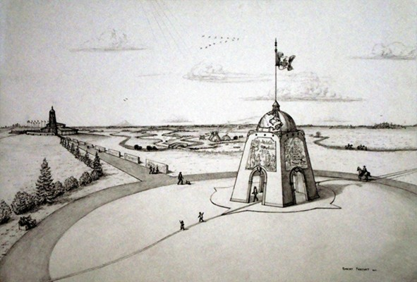 Centre of Canada Park and Monument - artist's concept; Parc et Monument au Centre du Canada - conception d'artiste